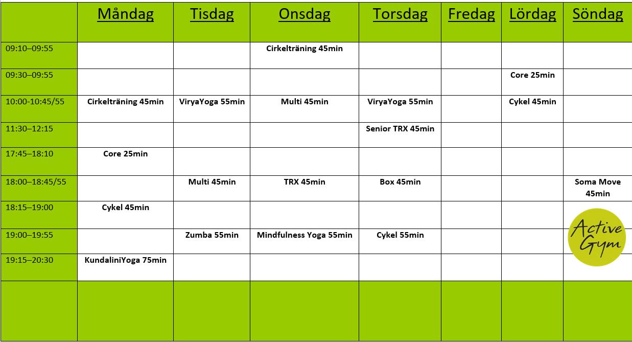 Gruppträningsschema